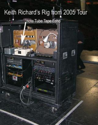 Keith Richards' tour rig from 2005. Note the Fulltone TTE.