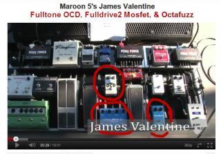 Maroon 5's James Valentine's pedalboard