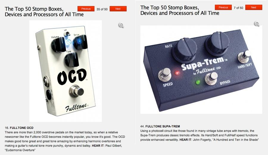 Fulltone places twice in Guitar World's Top 50 pedals of all time